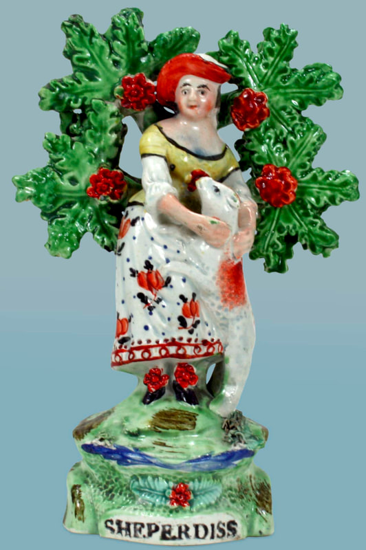 antique Staffordshire figure, Staffordshire pottery figure, SALT, pearlware figure, bocage figure, Myrna Schkolne, sheperdiss, shepherd