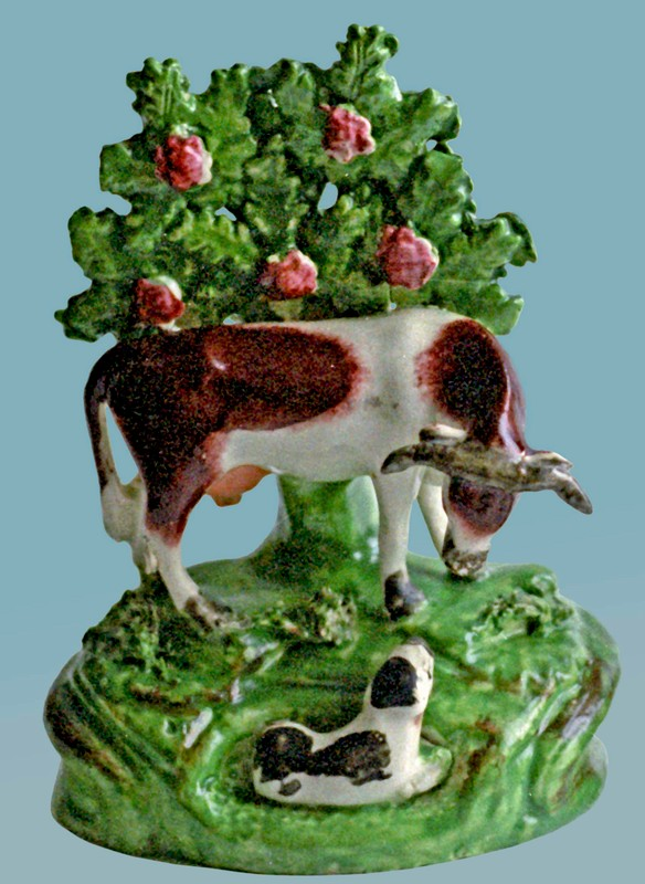 antique Staffordshire figure, Staffordshire pottery figure, SALT, pearlware figure, bocage figure, Myrna Schkolne, cow