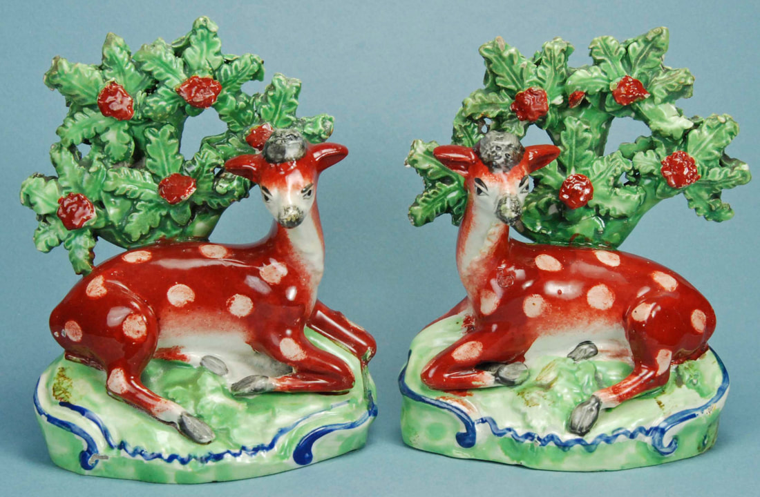 antique Staffordshire figure, Staffordshire pottery figure, SALT, pearlware figure, bocage figure, Myrna Schkolne, deer
