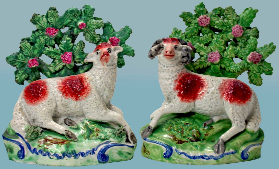 antique Staffordshire figure, Staffordshire pottery figure, SALT, pearlware figure, bocage figure, Myrna Schkolne, sheep