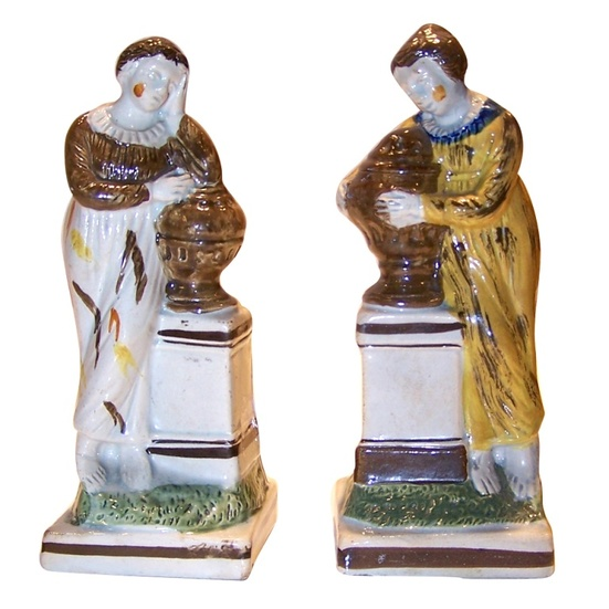 antique Staffordshire figure, prattware figure, pratt ware, myrna schkolne, charlotte at the tomb of werther