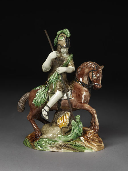 Staffordshire pottery figure, pearlware, George and dragon, antique Staffordshire, Ralph Wood figure, Myrna Schkolne
