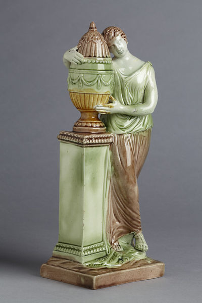 pearlware figure, antique Staffordshire, antique pottery figure, Charlotte at the tomb of Werther, Ralph Wood, Myrna Schkolne