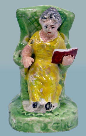 antique Staffordshire figure, Staffordshire pottery figure, SALT, pearlware figure, bocage figure, Myrna Schkolne, GOOD GIRL, GOOD BOY, reading