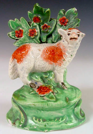 antique Staffordshire figure, Staffordshire pottery figure, SALT, pearlware figure, bocage figure, Myrna Schkolne, ewe