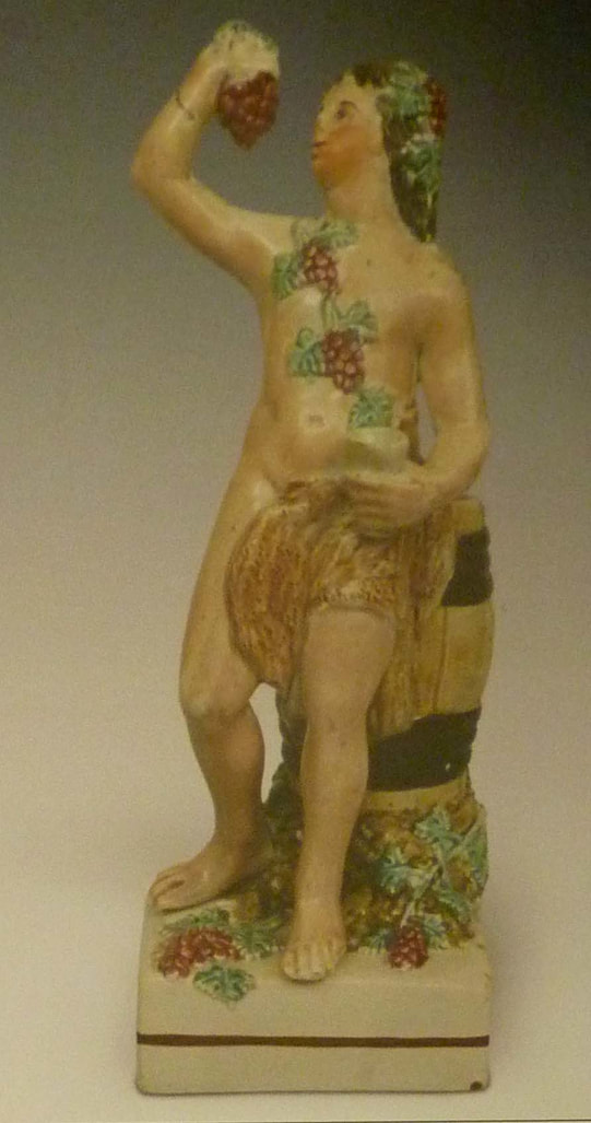 Leeds Pottery, antique Staffordshire figure, antique English pottery, creamware, Myrna Schkolne, Bacchus