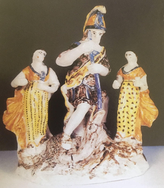 Staffordshire pottery figure, pearlware, George and dragon, antique Staffordshire, pratt ware figure, Prattware,Myrna Schkolne