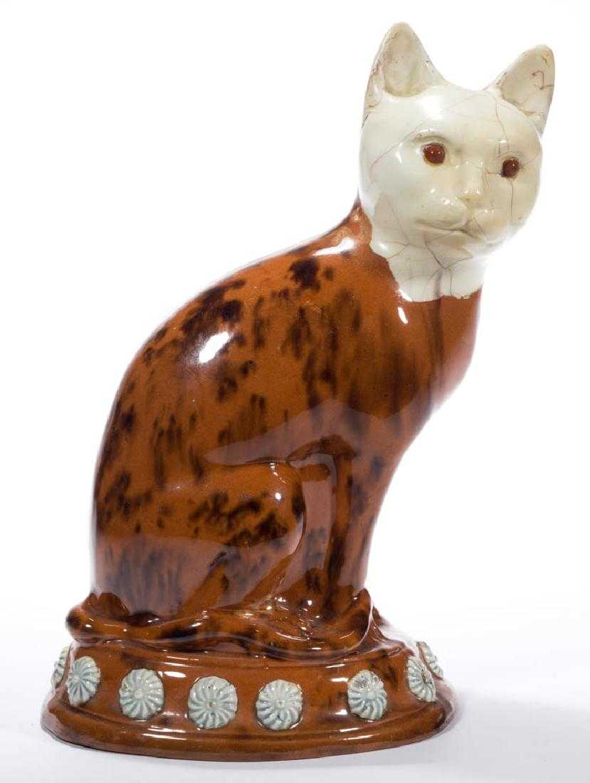 antique Staffordshire pottery, early Staffordshire figure, slip decorated pottery cat, Myrna Schkolne