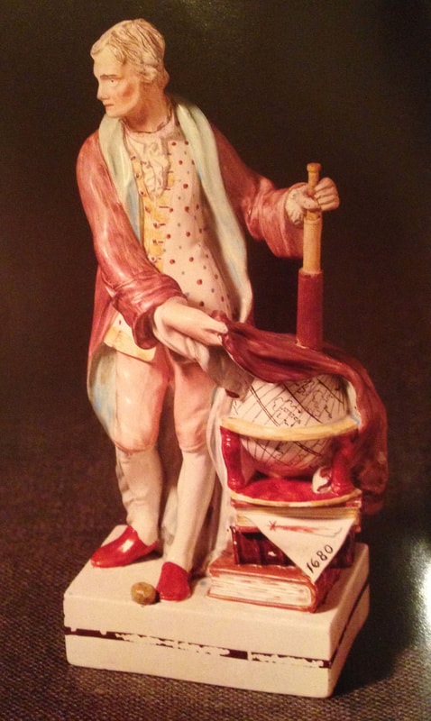 Leeds Pottery, antique Staffordshire figure, antique English pottery, creamware, Myrna Schkolne, Sir Isaac Newton