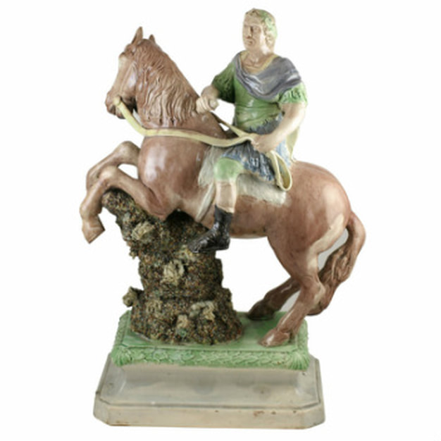 antique Staffordshire figure, antique Staffordshire pottery, pearlware, Myrna Schkolne, King William III, Ralph Wood figure