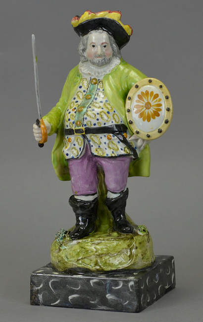 early Staffordshire figure, antique pearlware figure, antique Staffordshire figure, Shakespeare, Falstaff, Myrna Schkolne
