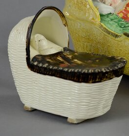 antique Staffordshire pottery, Bovey Tracey pottery, antique cradle