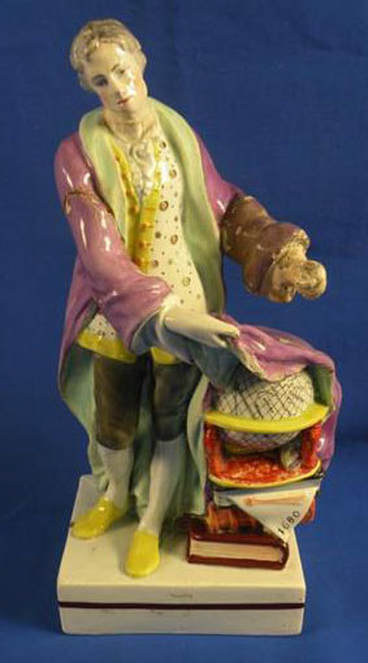 antique Staffordshire figure, antique Staffordshire pottery, pearlware, Myrna Schkolne, Leeds Pottery, Isaac Newton